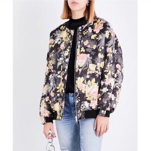 Free People Satin Floral Oversized Bomber Jacket